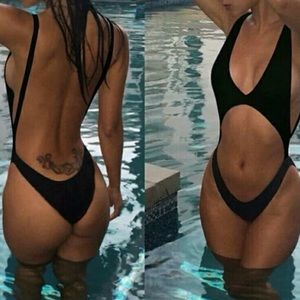 Black back less strappy one piece